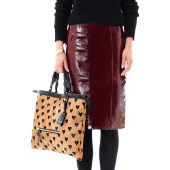 5fb24970aa2b Burberry Prorsum Women s Red Patent Leather Skirt